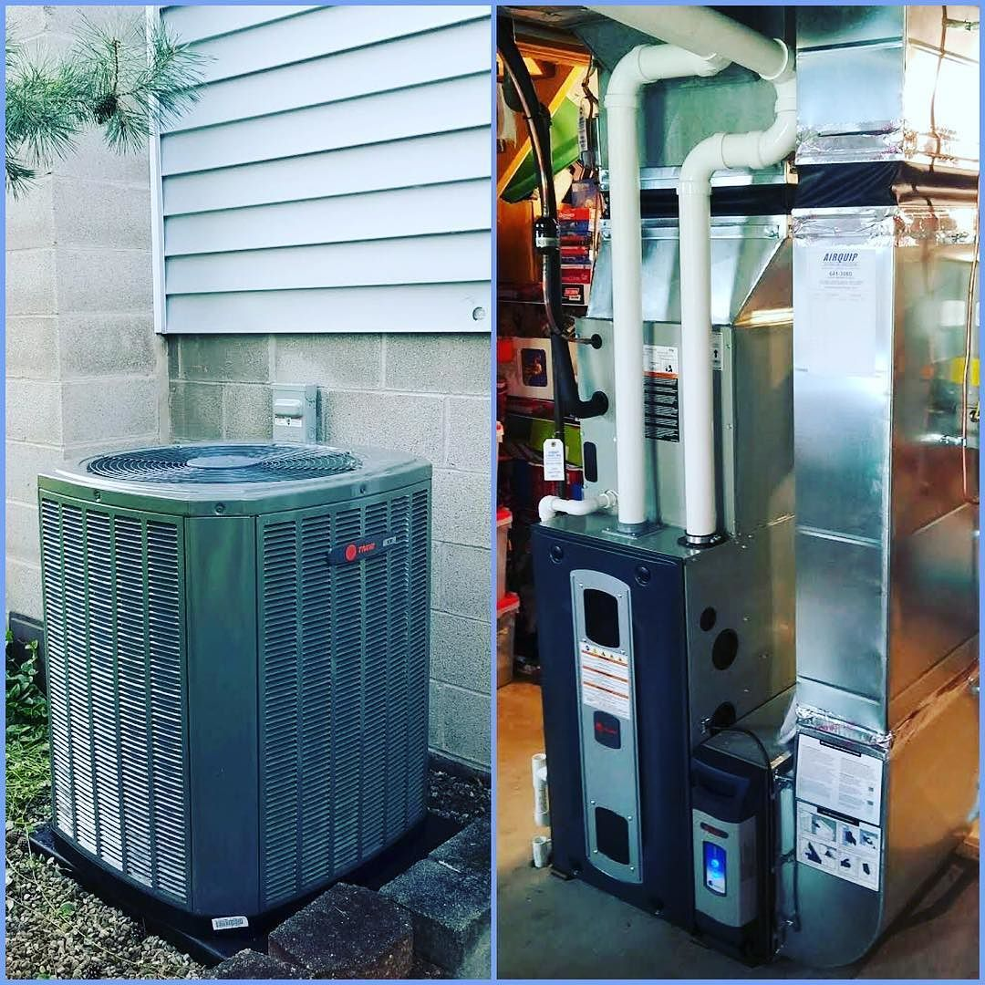 A Brand New Trane High Efficiency Furnace And Air Conditioner With A Brand New Humidifier Air Cleaner And High Efficiency Furnace Hvac Installation Air Cleaner