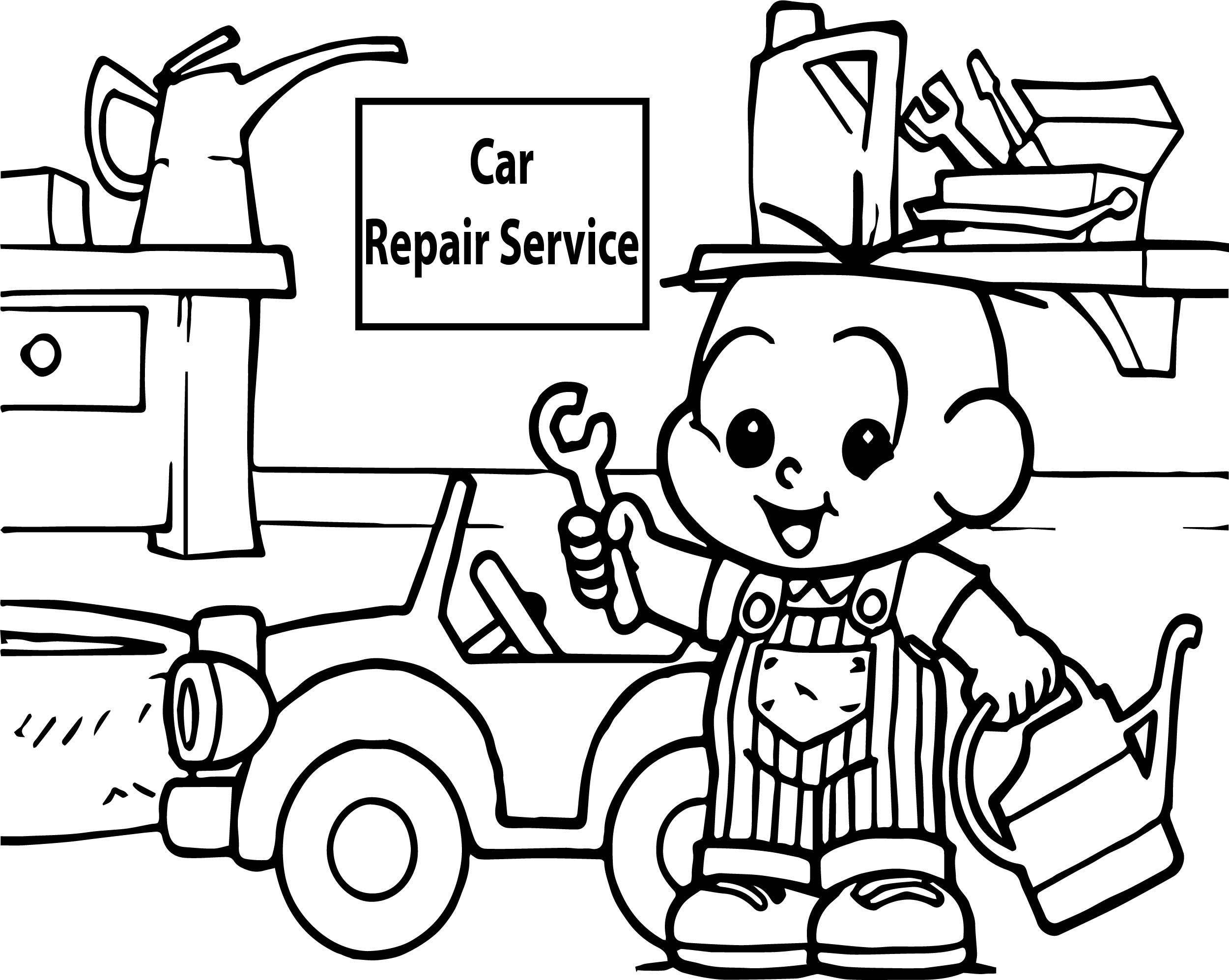 Nice Car Repair Service Oscar Boy Coloring Page