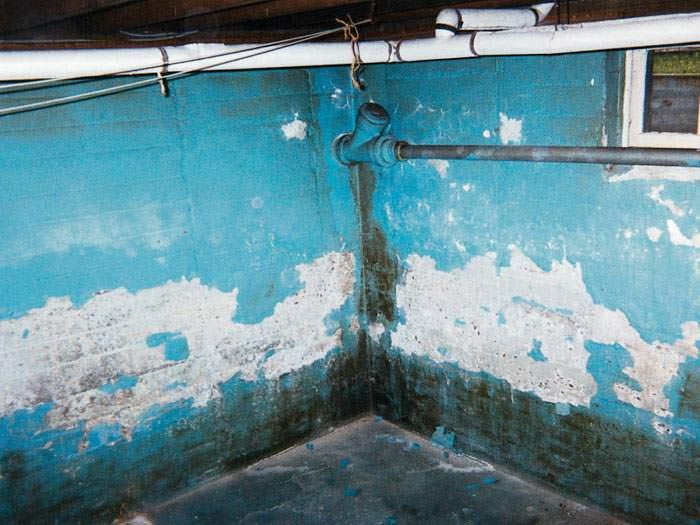 A Basement With Bright Blue Waterproof Paint That Is Heavily Peeling And Flaking Off The Walls Wet Basement Damp Basement Waterproofing Basement