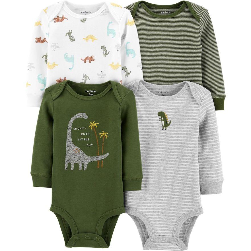 Carters Baby Boys Long Sleeve Dinosaur Raglan Tee