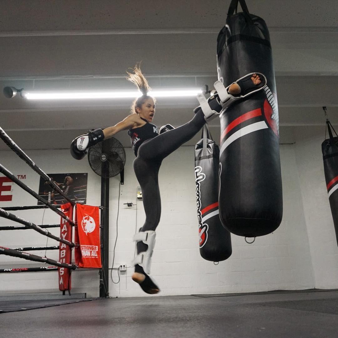 d84aff8deb21 Emilmar Colmenarez fitness instructor, muay thai practice in the gym ...