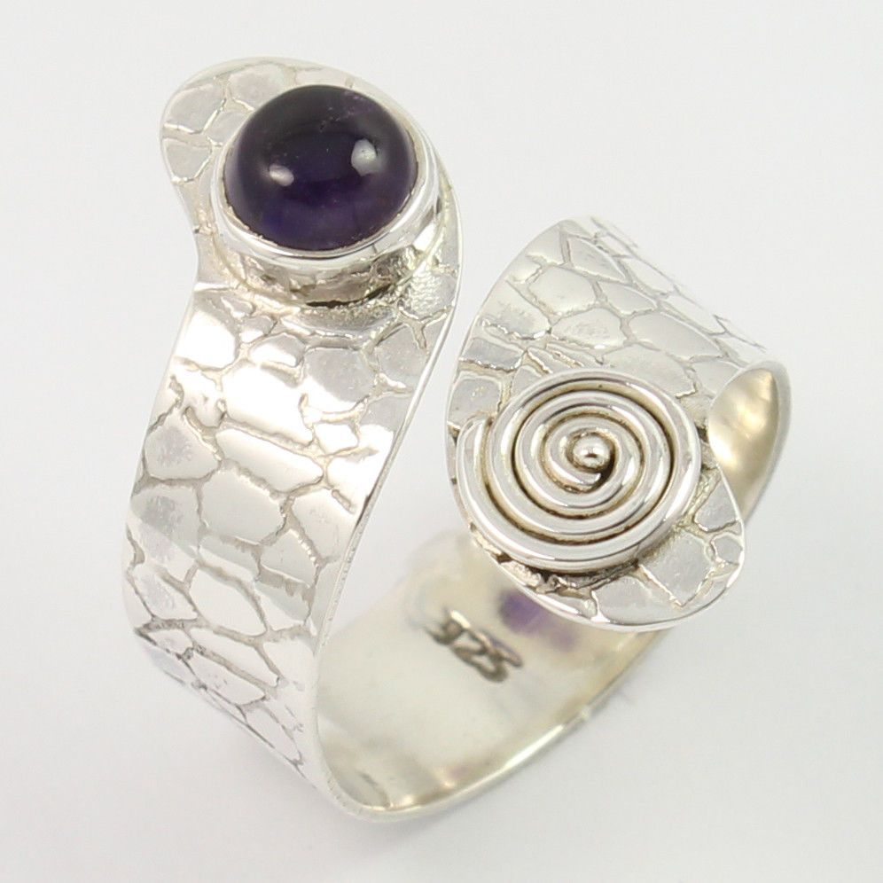 Snake Style Ring Size UK O1/2 Real AMETHYST Gemstone 925 Sterling Silver Jewelry #SunriseJewellers #Fashion