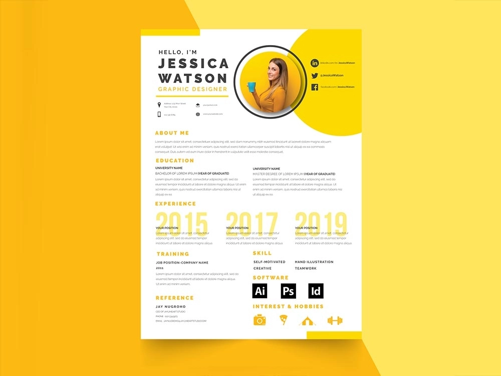 Free Yellow Resume Template Resume Design Creative Curriculum Template Curriculum Vitae Template
