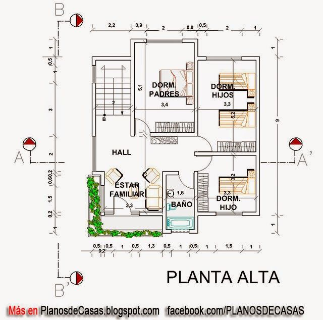 Plano unifamiliar de 12m x 24m 288 metros cuadrados for Plano habitacion