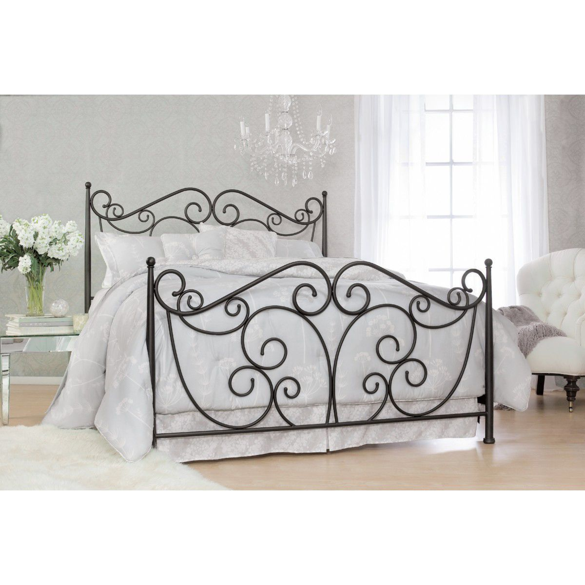 Scroll Decorative Metal Bed Frame In Dark Bronze Powder Coated Steel Queen Bed Frame Queen Metal Scro Iron
