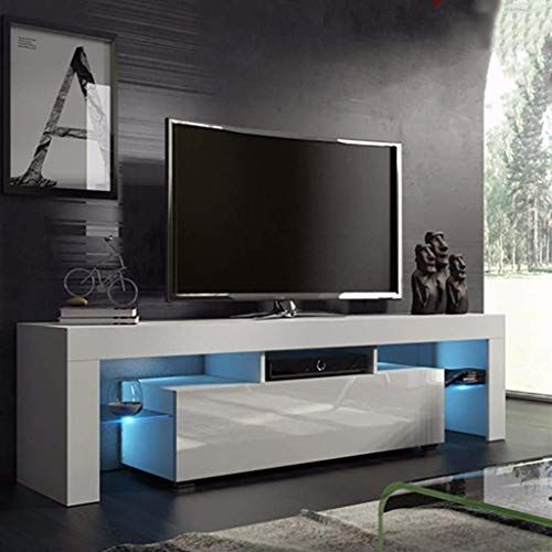 New Us Fast Shipment Quaanti Tv Stand With High Gloss Led Lights Media Tv Console Table Storage Cabi Tv Stand Furniture Living Room Tv Cabinet White Tv Stands