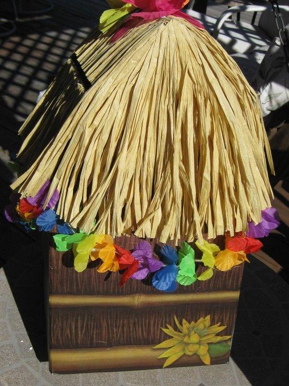 Tiki hut card box luau graduation party beach by for Beach hut decoration ideas