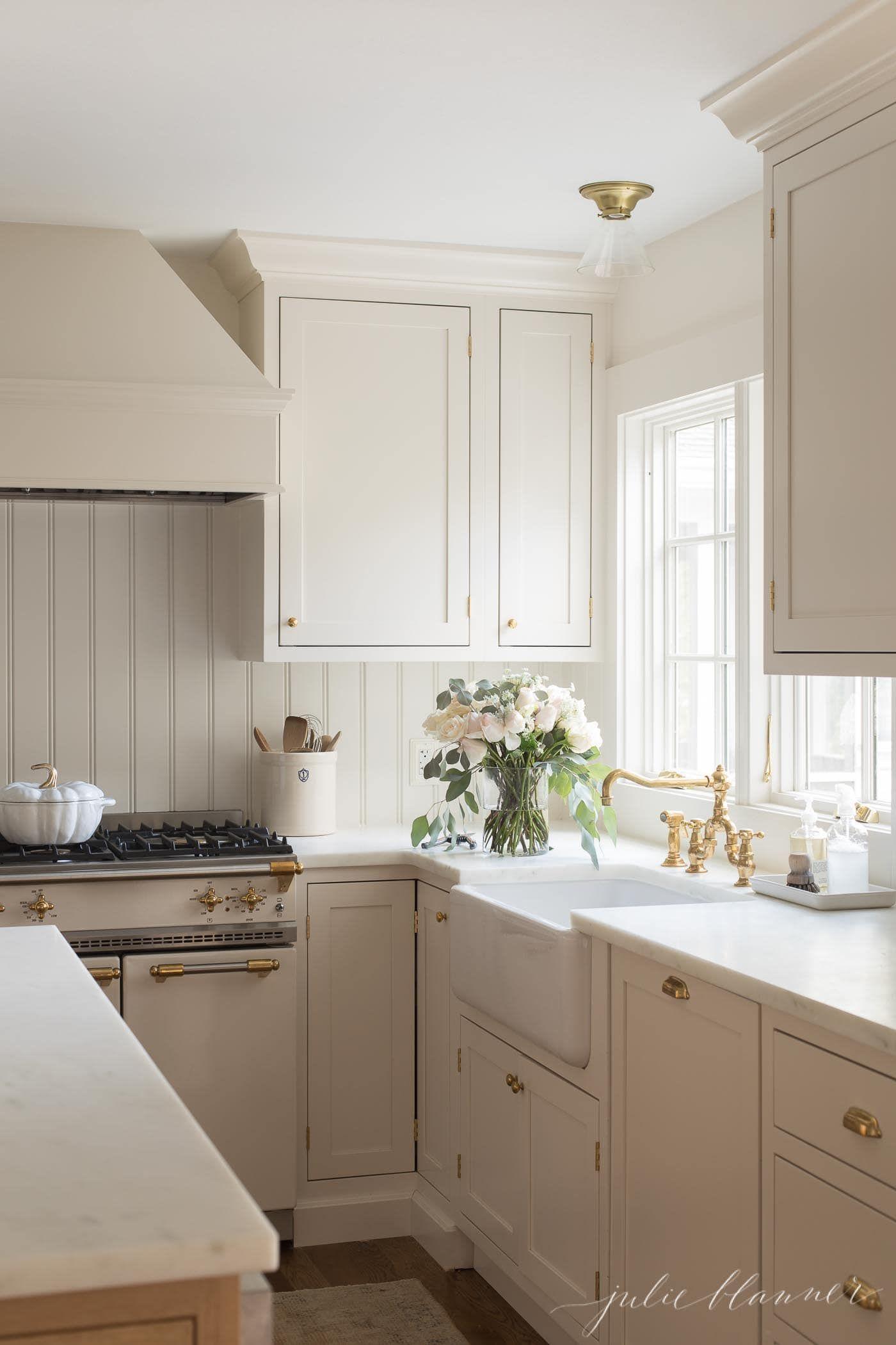 Cream Kitchen Cabinet Custom Paint Color Julie Blanner In 2020 Cream Kitchen Cabinets New Kitchen Cabinets Painted Kitchen Cabinets Colors