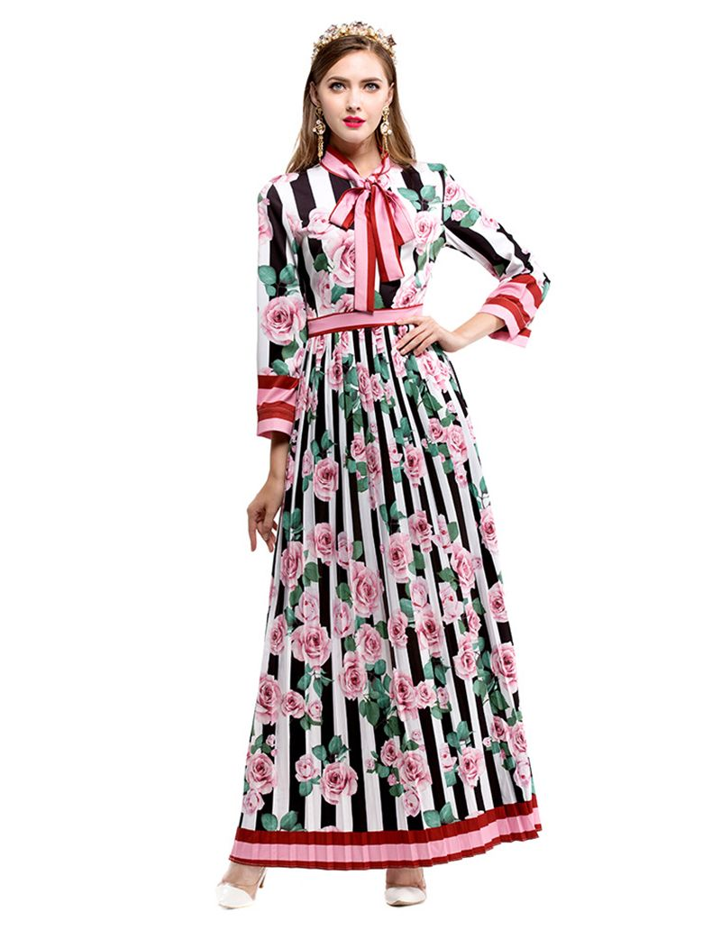 early autumn runway designer pleated long dress women high