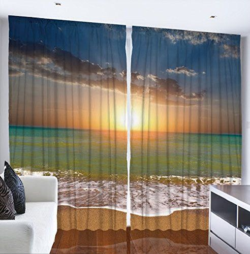 Ocean Beach Sunset Scene Digital Graphic Technology Printed Curtain Panel Set Livingroom Dining Room Den Or Bedroom Drapes Tropical Design Theme Window