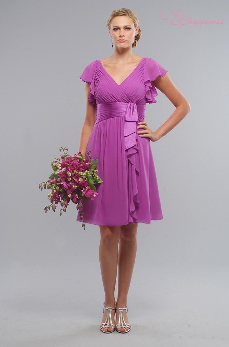 Luxuoso V Cap decote mangas Chiffon Lilás Vestidos dama de honra US ...