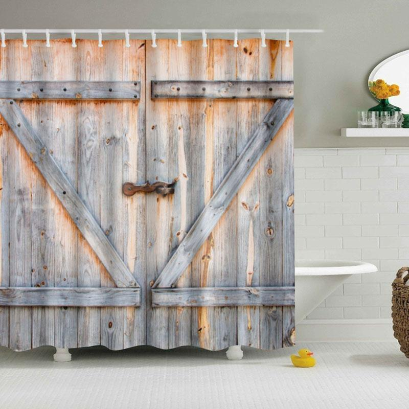 3d Rustic Barn Door Shower Curtain Barn Door Shower Curtain Fabric Shower Curtains Bathroom Shower Curtains