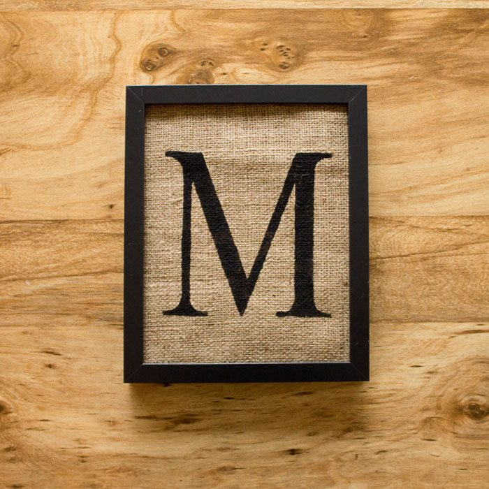 Letter M Wall Decor letter m - burlap wall decor, alphabet art, monogram | burlap wall