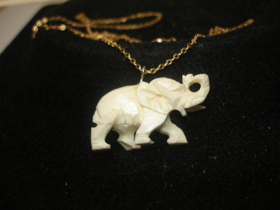 Vintage Bone Carved Elephant Gold Tone Necklace Ivory Elephant 3d Printed Jewelry Carving