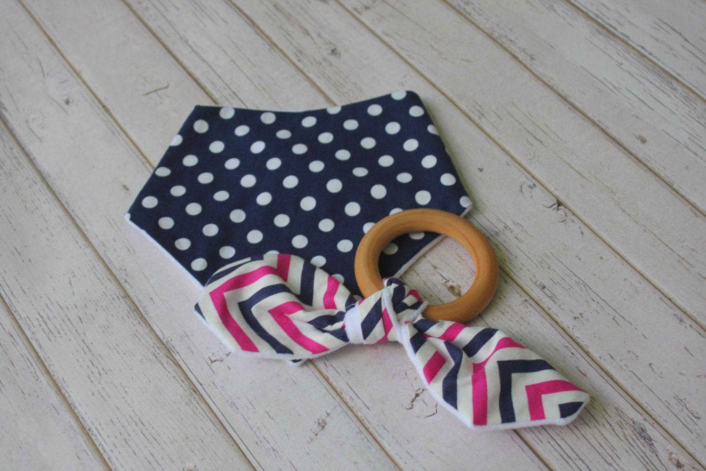 Bandana Bib and Organic Wooden Teething Ring Set, Bandana Bib, Wooden Teething Ring, Baby Girl Shower Gift Set, Navy Bib Set, Pink Chevron by LovlyLynn on Etsy