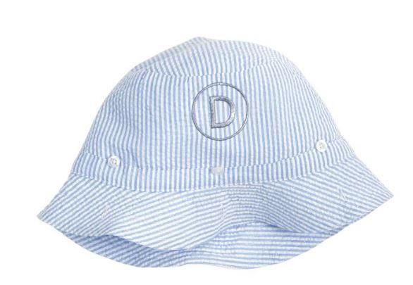 Blue Seersucker Sun Hat - Beach Hat - Monogrammed-Personalized - Mud Pie by  ThePalmettoBaby c38c25490a6b