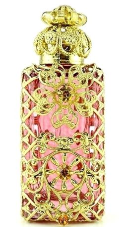 Bohemian Perfume Bottle Gold Tone Filigree Pink Glass W Crystal