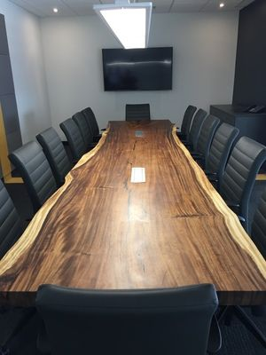 Parota Conference Table On Concrete Legs Made By Bois Design Www Boisdesign Co Live Edge Wood Table Wood Conference Table Wood Table Design