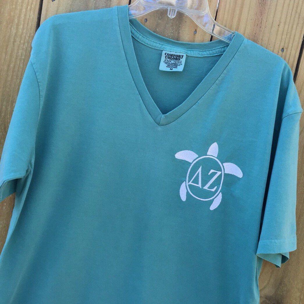 delta zeta sorority comfort colors v neck tee shirt with turtle