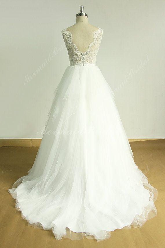 Elfenbein öffnen wieder eine Linie Hochzeit Spitzenkleid mit ...