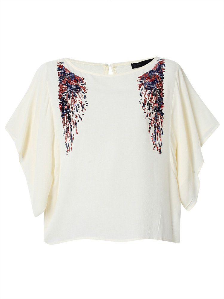 Women Short Batwing Sleeve Sequins Decoration Casual T-shirt