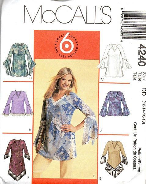 McCall's Sewing Pattern Loose Fit Pullover Top V Neck Blouse ...