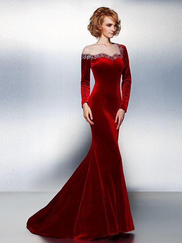552f2527620 TS Couture Formal Evening Dress - Burgundy Plus Sizes   Petite Trumpet  Mermaid Jewel Court Train Velvet - USD  119.59