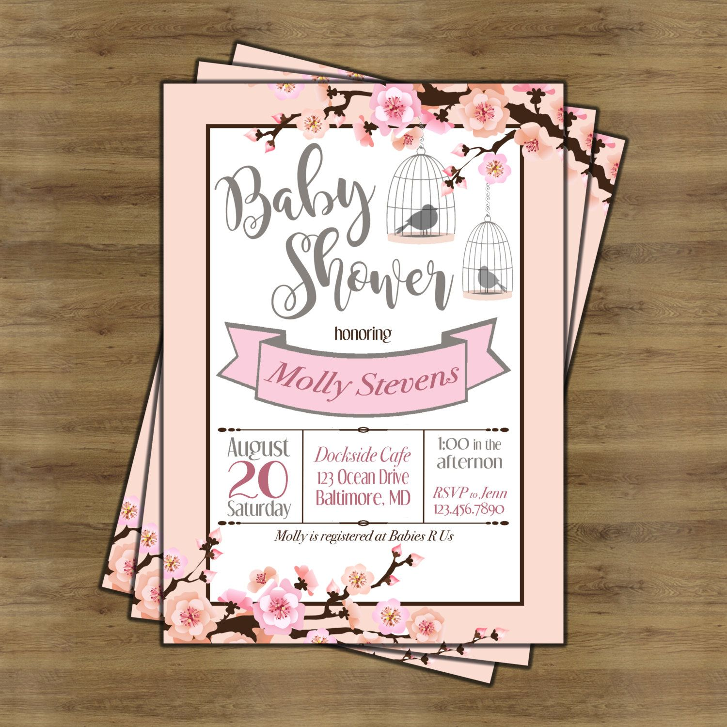 Cherry Blossom Invitation; Cherry Blossom Baby Shower; Girl Baby ...