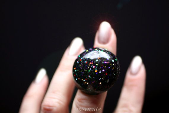 Jewelry, Ring Black Giant Resin Glitter Bauble, Handcast Adjustable Modern Dome Jewelry ... handmade by isewcute