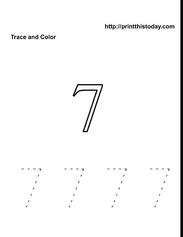 Color and trace number 7 | Number 7 Worksheets | Pinterest | Worksheets