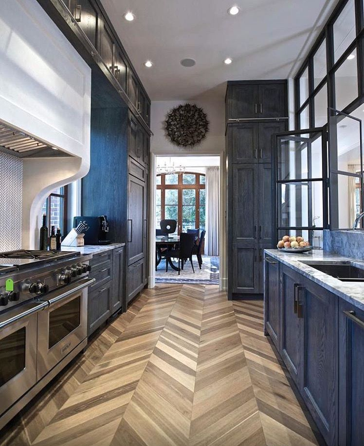 dark lowers with white uppers and hair and bone flooring love this look design delights in on kitchen remodel dark floors id=91736