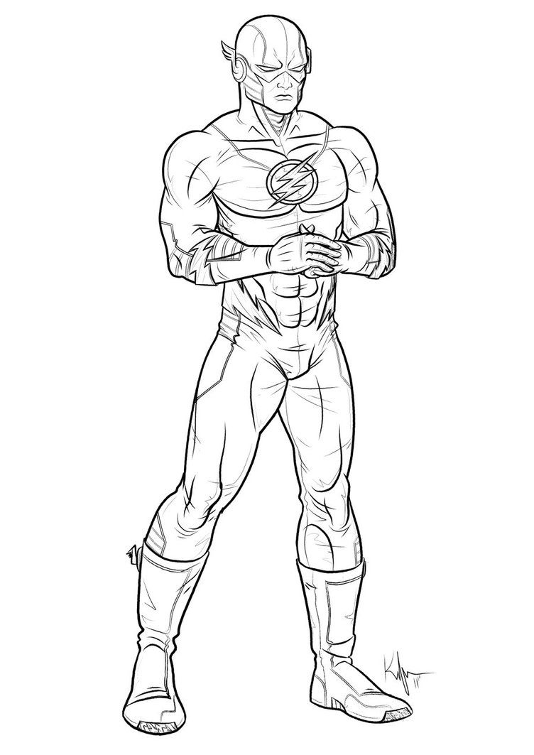 super heros drawings -The Flash.  Superhero coloring pages