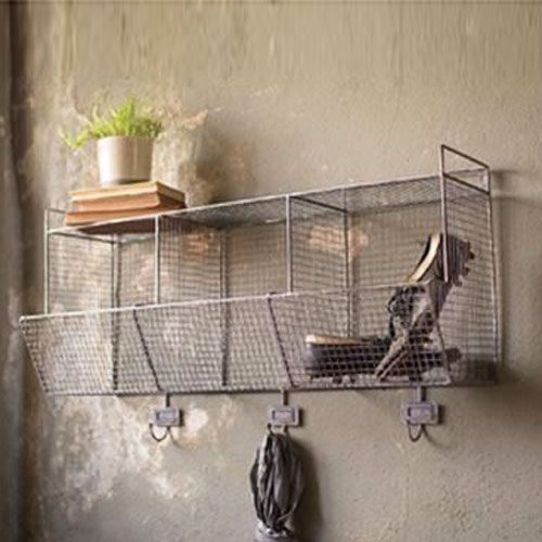 Hanging Wire Basket, Rustic Coat Rack Wall Mounted Shelf With Hooks And Baskets