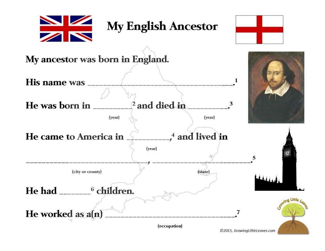 My English Ancestor Worksheet Growinglittleleaves