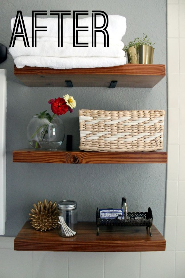 Turning It Home: Bathroom Reveal Thick wood shelves with $3 brackets ...