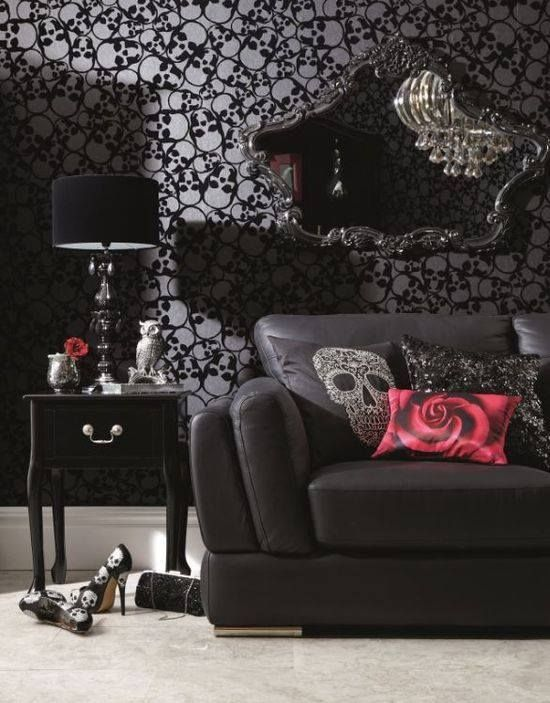 Cute Gothic Living Room Featuring Skull Wallpaper And Throw Cushion