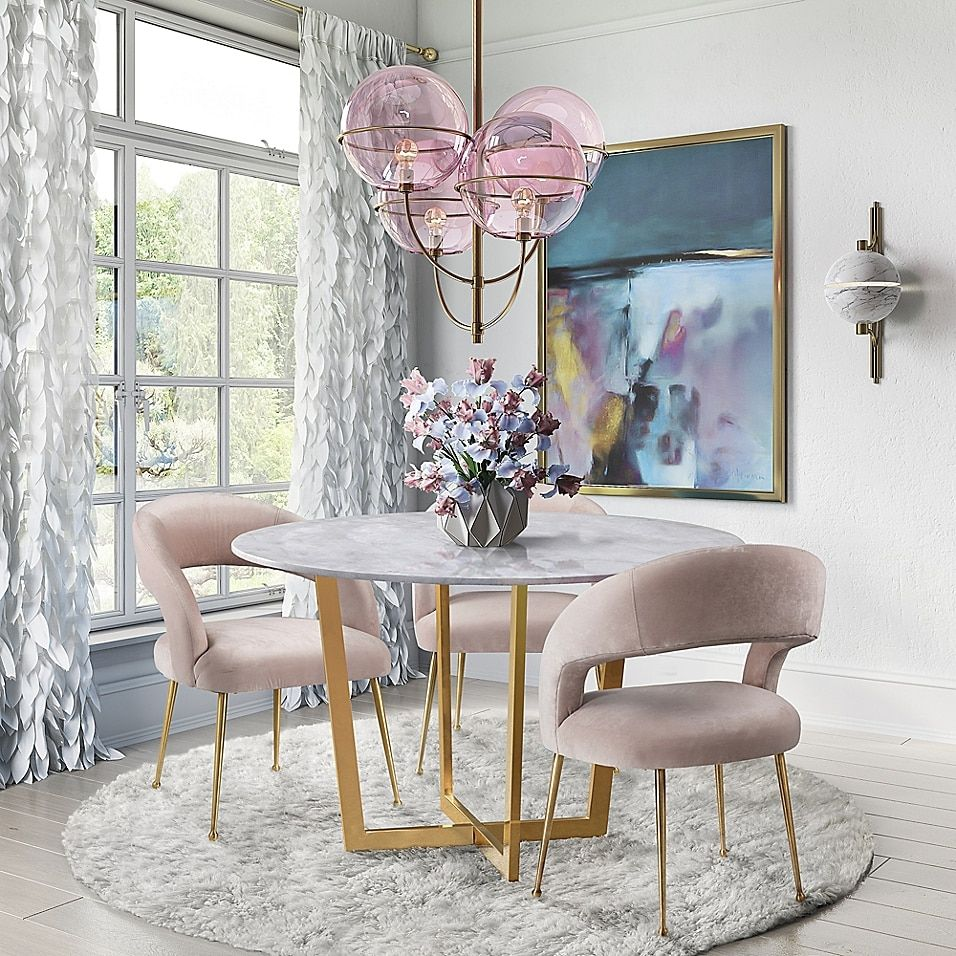 Tov Furniture Rocco Velvet Dining Chair In Blush
