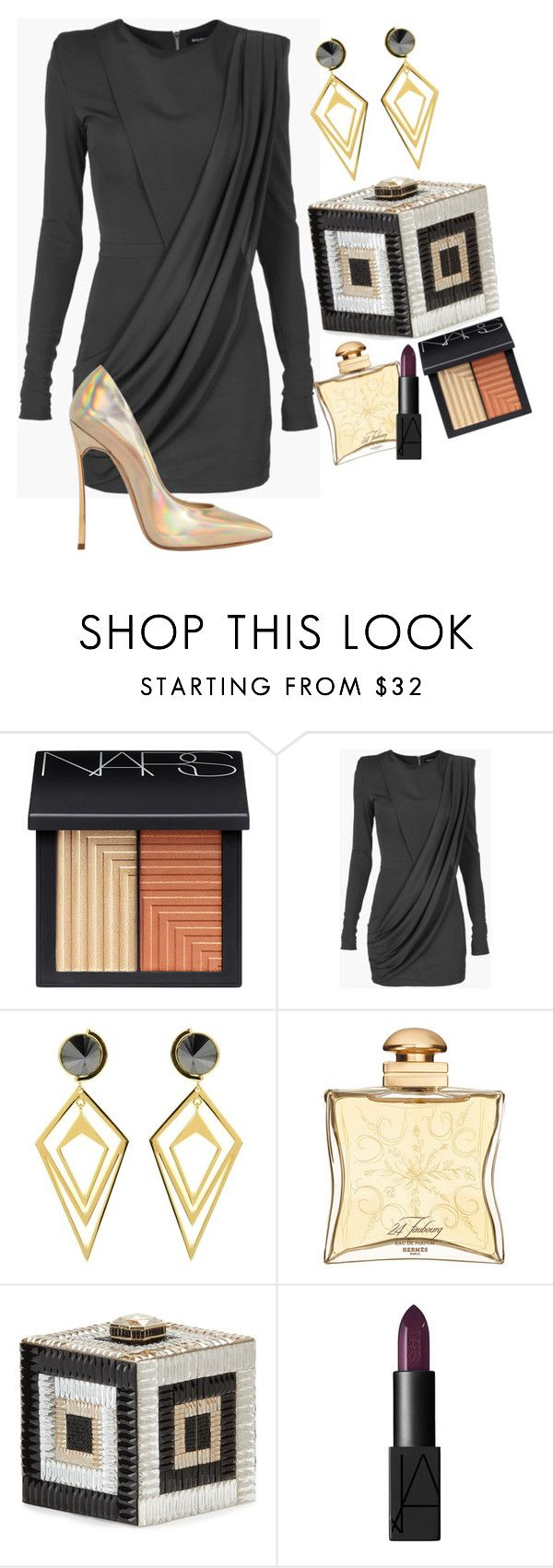 """Before You Go"" by chelsofly on Polyvore featuring NARS Cosmetics, Balmain, Sarah Magid, Hermès, Judith Leiber and Casadei"