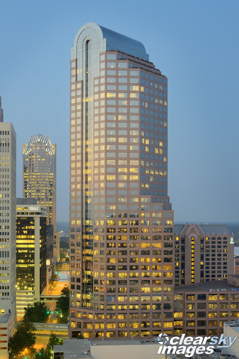 one wells fargo in charlotte nc at dusk office towers