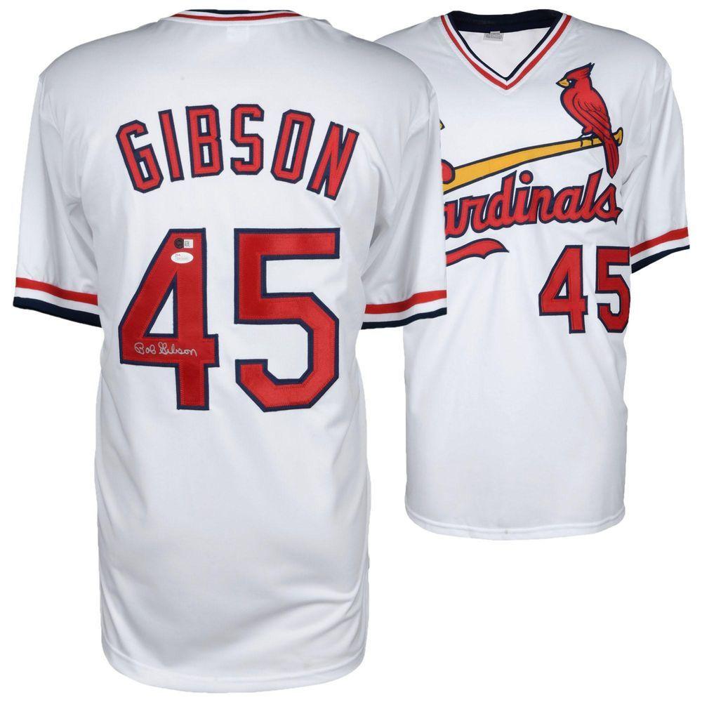 d9000bc0da78 Bob Gibson St. Louis Cardinals Autographed White Jersey JSA Certified