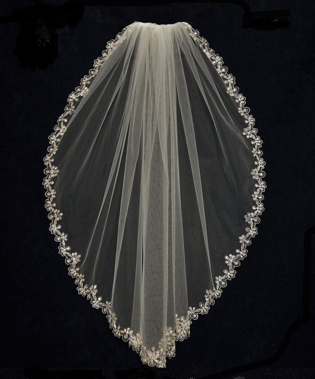 Rhinestone And Pearl Beaded Embroidery Fingertip Wedding Veil C431
