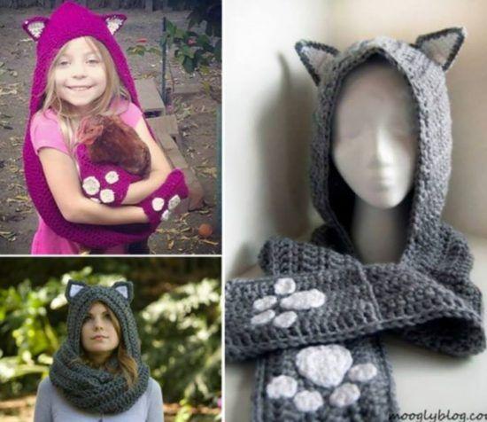 Cat Ear Scoodie Free Crochet Pattern Video | Cat ears, Free crochet ...