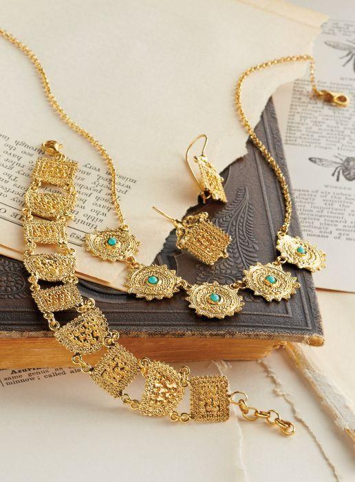 Etruscan Sun Jewelry This 16k gold vermeil ensemble is a replica