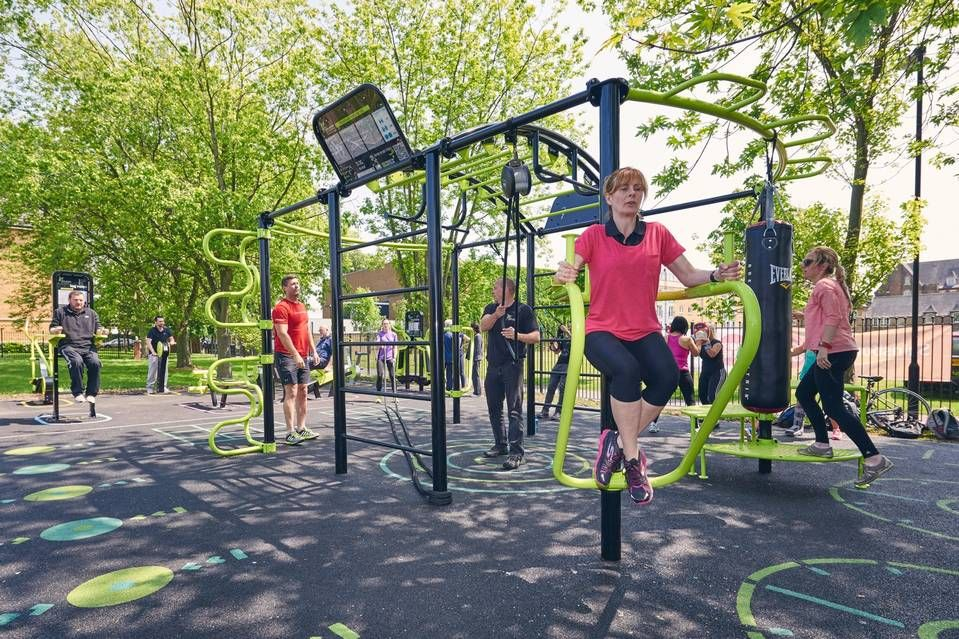 Outdoor Exercise Equipment Is A Common Feature Of Multigenerational Playgrounds This Calisthe Outdoor Fitness Equipment Outdoor Workouts No Equipment Workout