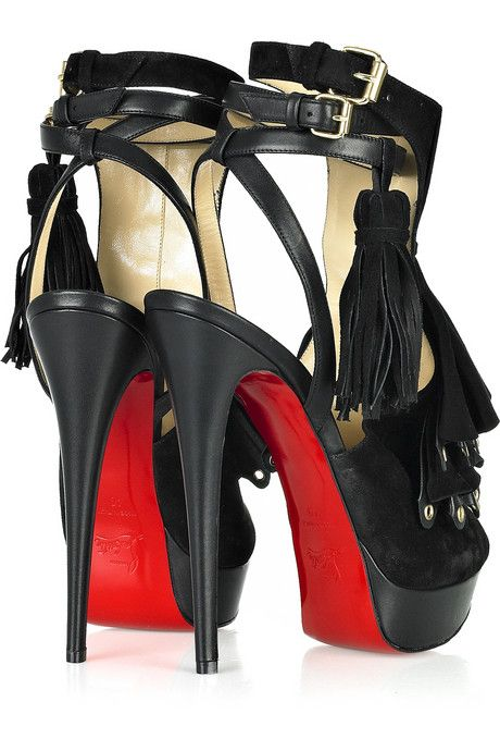 f677c04033c Christian Louboutin Misfit 150 suede and leather sandals | Hello ...