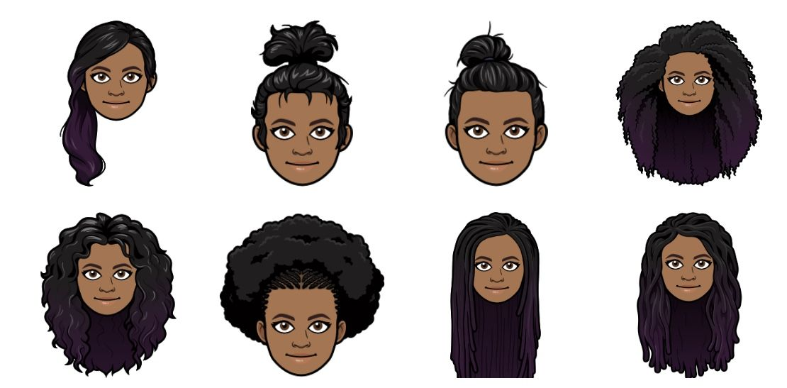 New Afro Hairstyles On Bitmoji In 2020 Long Curly Hair Ombre Curly Hair Short Curly Hair