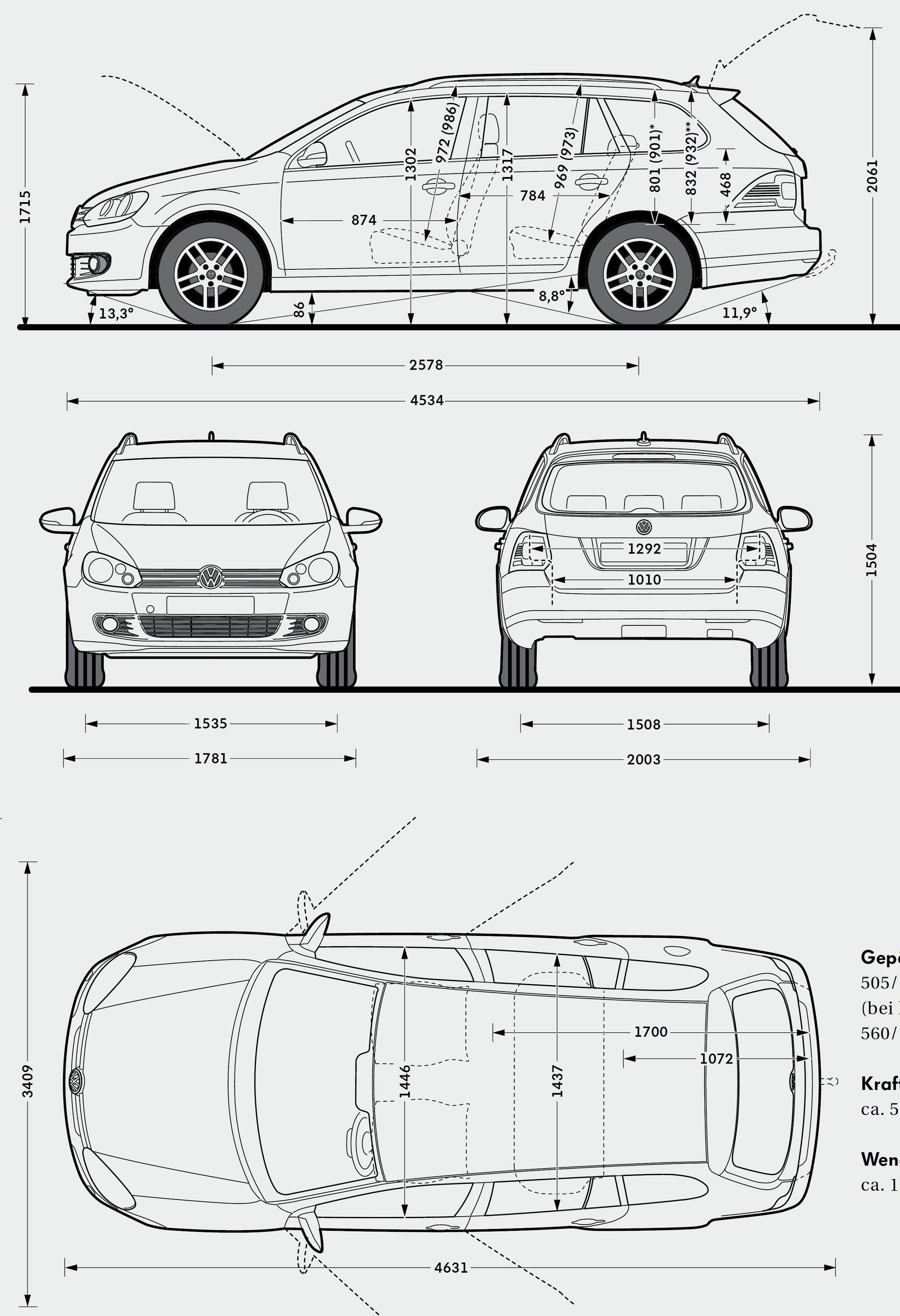 Volkswagen-Golf-Variant-28200929 | Model Sheet - Blue Print | Pinterest
