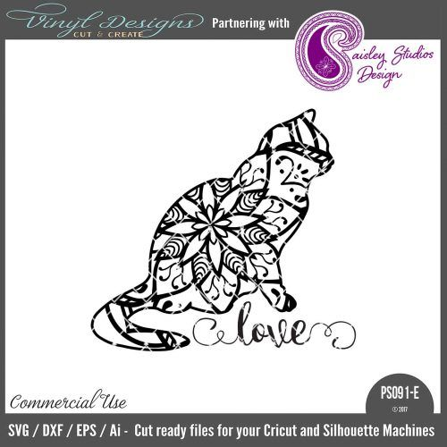 PS091E Sitting Cat Mandala