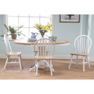 Tms Farmhouse 5 Piecedining Set In White Natural Natural Dining Room Farmhouse Dining Set Country Style Dining Room