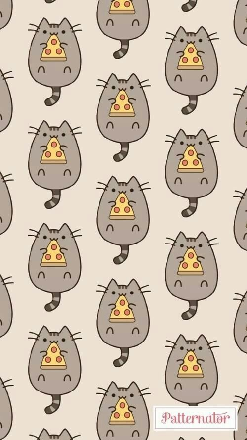 Kawaii Wallpaper Designs Backgrounds Iphone Wallpapers Pizza Cat Pusheen Cats Motifs Digital Art